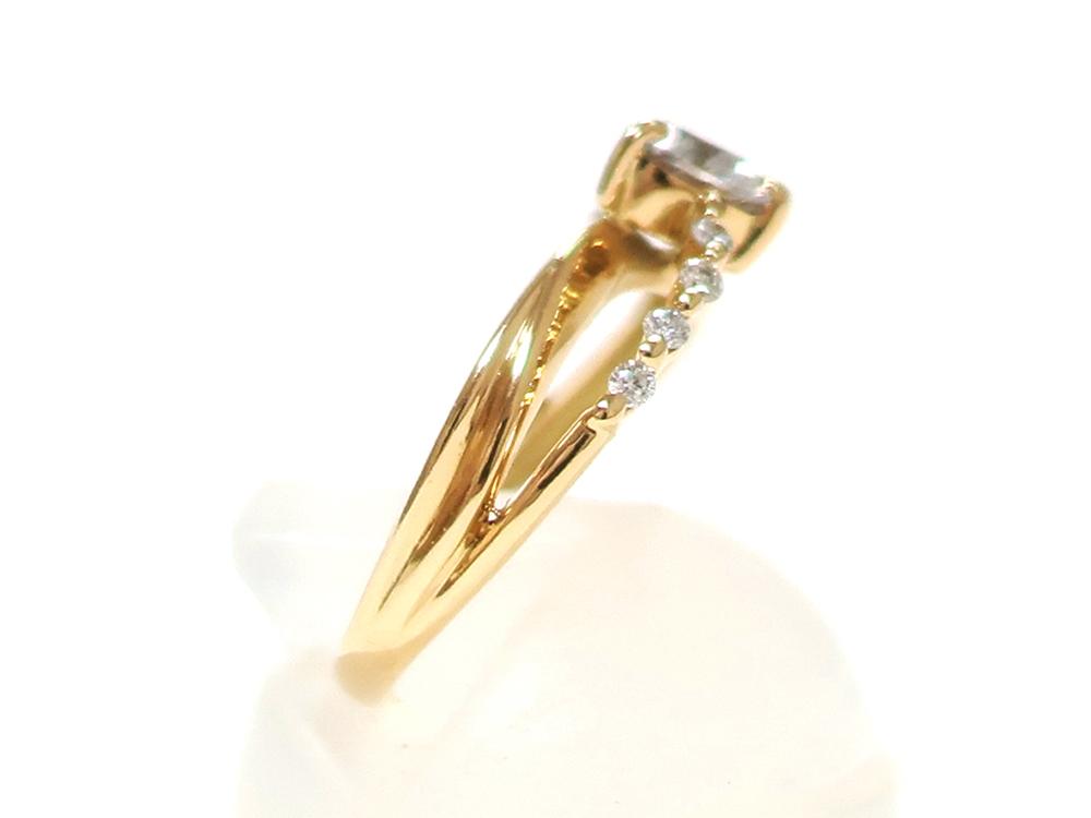 ジュエリー イエローゴールド ハートシェイプ ダイヤモンド リング ダイヤ0.53ct 側面02