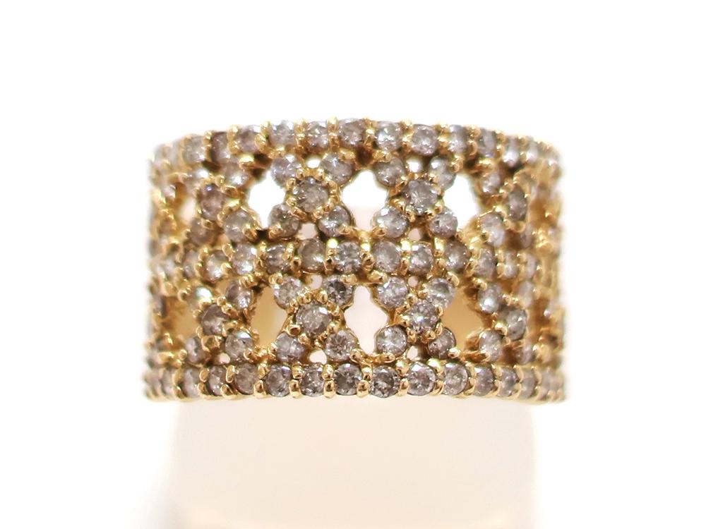 ジュエリー イエローゴールド ダイヤモンド リング ダイヤ1.43ct 正面