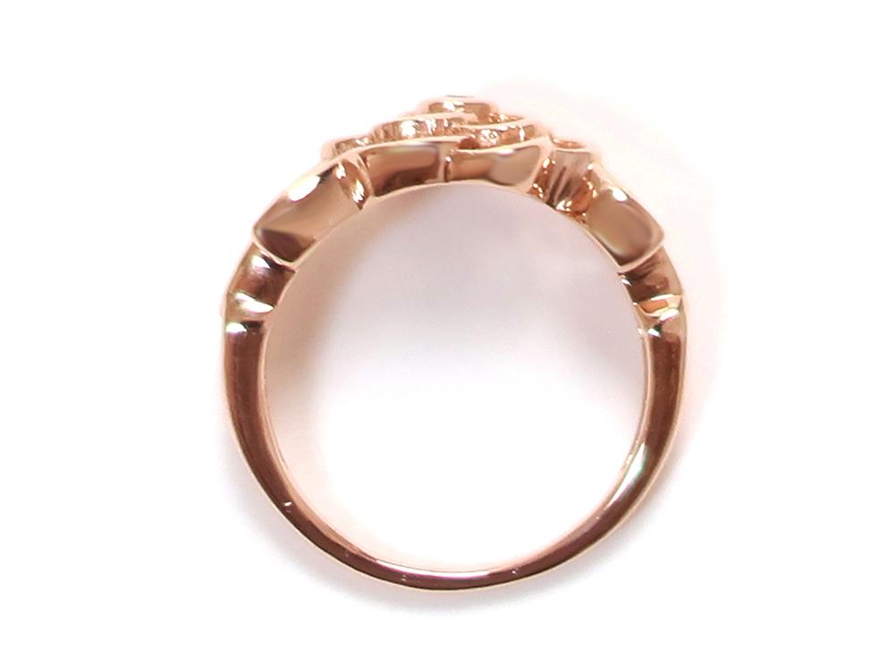 ジュエリー ピンクゴールド フラワー ダイヤモンド リング ダイヤ0.02ct 上面