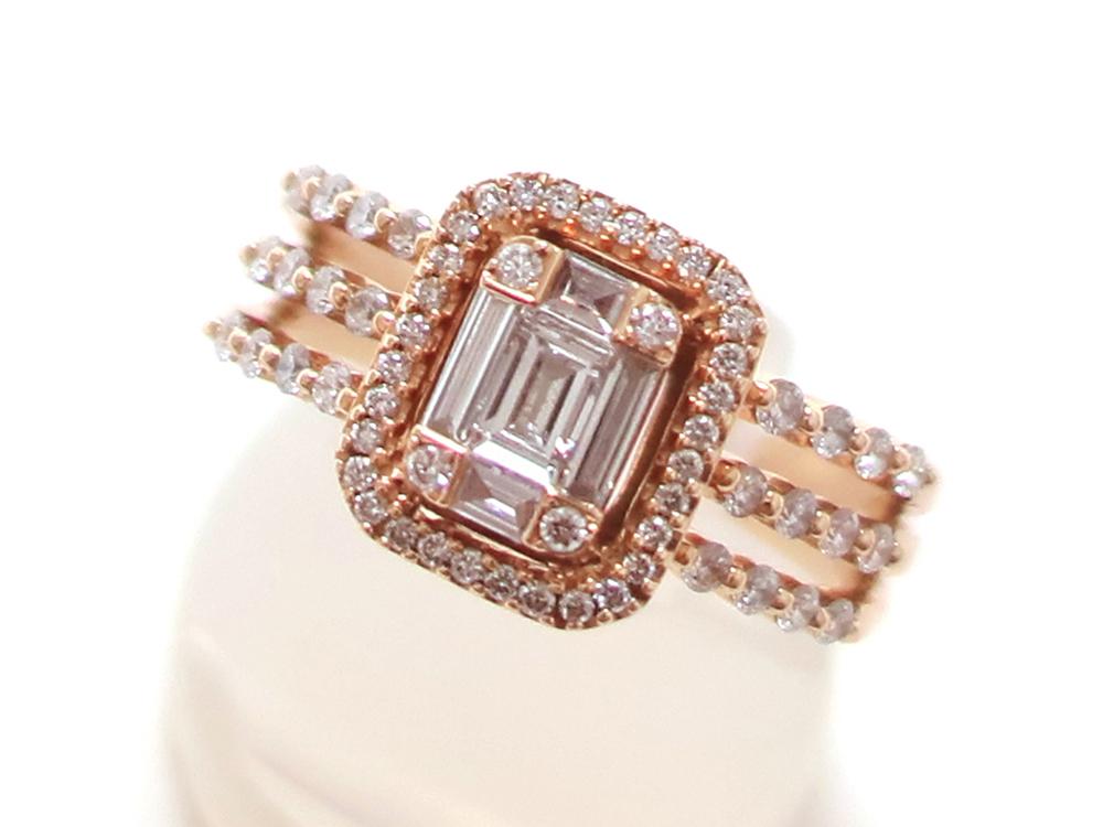 ジュエリー ピンクゴールド ダイヤモンド リング ダイヤ0.69ct トップ