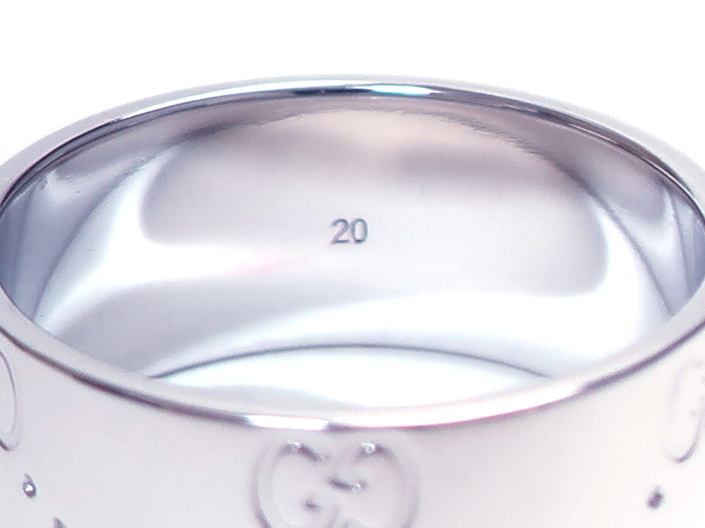 グッチ アイコンリング ワイド ホワイトゴールド 20号 刻印03