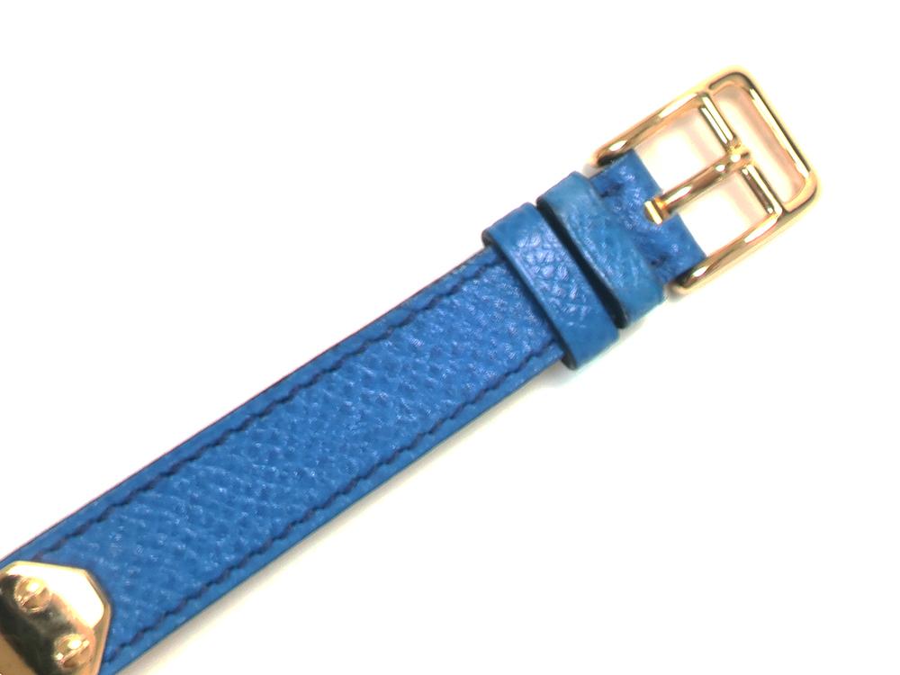 エルメス ケリー ブレスレット (ケリーウォッチ替えベルト) ブルー系×ゴールド ベルト01