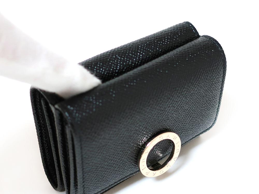 ブルガリ ブルガリ・ブルガリ 三つ折り財布 レザー ブラック 288648 外面オープンポケット
