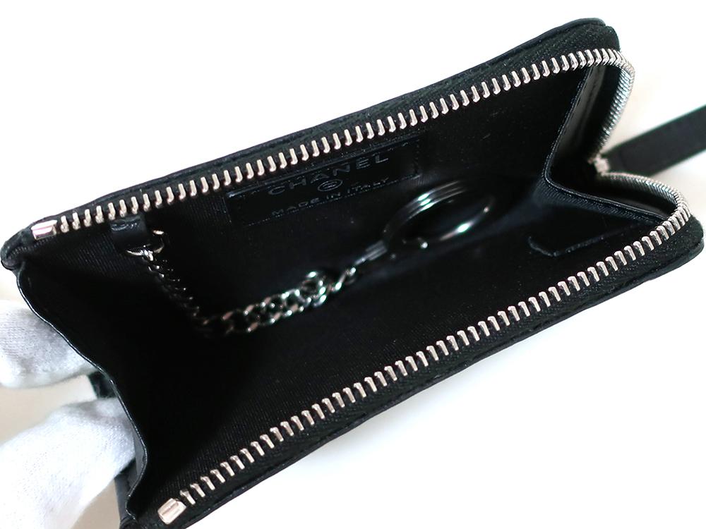 シャネル カメリア ココマーク カーフ キー・コインケース ブラック A82334 内面02