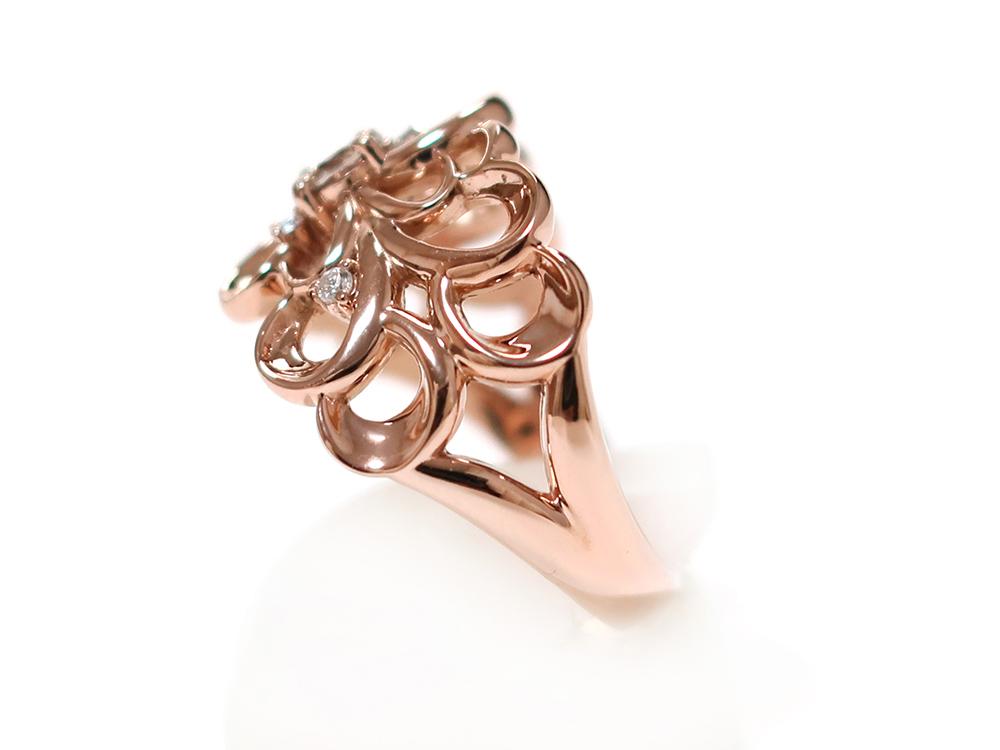 ジュエリー ピンクゴールド ダイヤモンド リング ダイヤ0.24ct 側面01