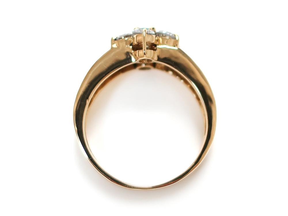 ジュエリー イエローゴールド エメラルド ダイヤモンド リング エメラルド0.10ct 上面